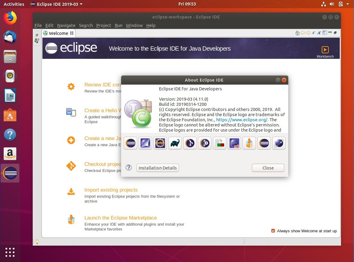 Eclipse IDE 2019-03 on Ubuntu 18.04